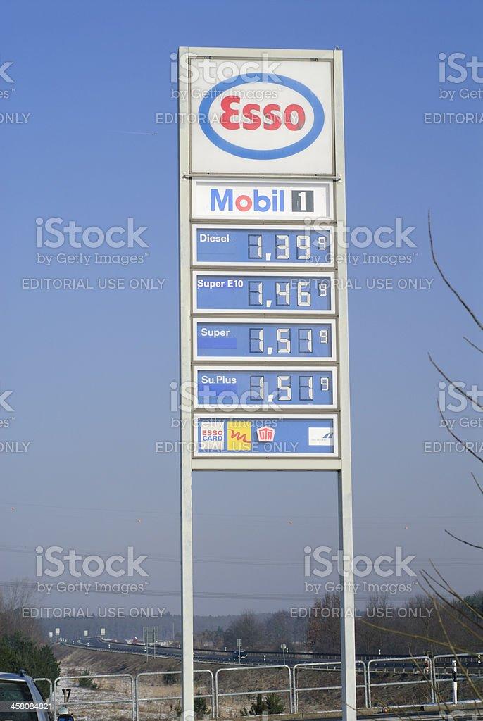 Gasoline prices Super E10 stock photo