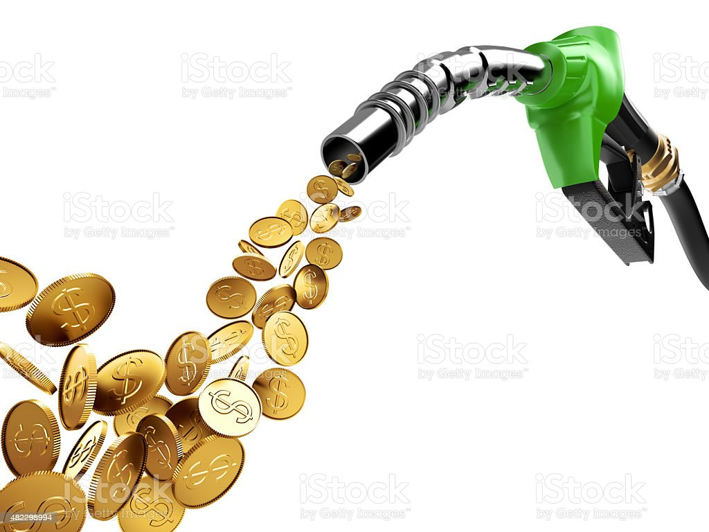 Gasoline pump and gold coin with dollar sign stock photo
