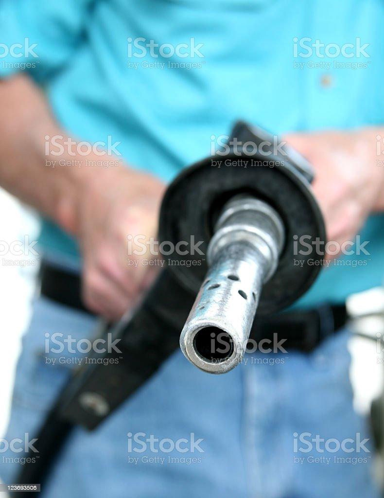 Gasoline pump, station. Gas nozzle. Man. royalty-free stock photo