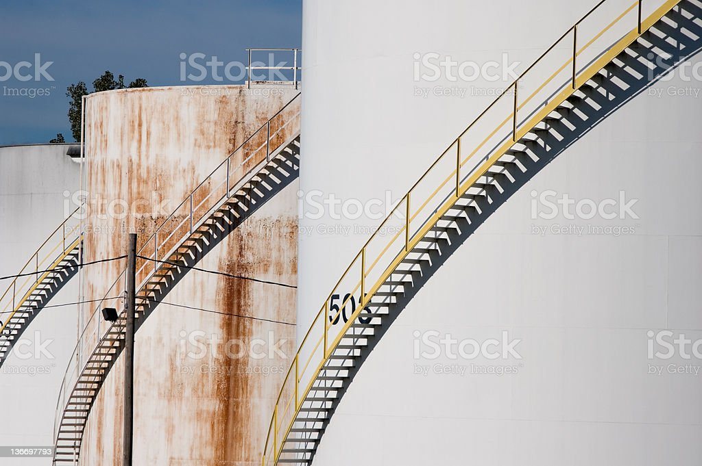 Gasoline Storage Tanks, Close Up royalty-free stock photo