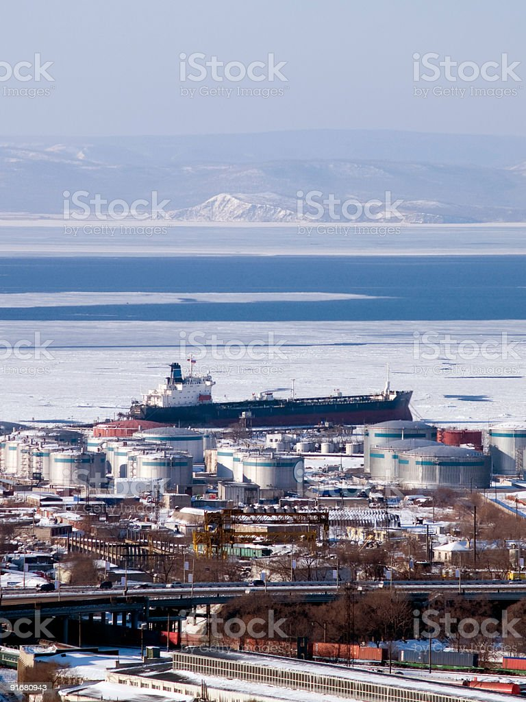 gasoline tanker at russian petroleum port Vladivostok royalty-free stock photo