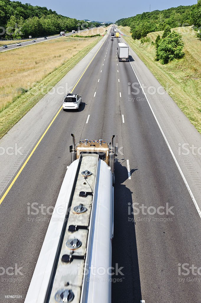 Gasoline Tanker Truck On Interstate Highway royalty-free stock photo