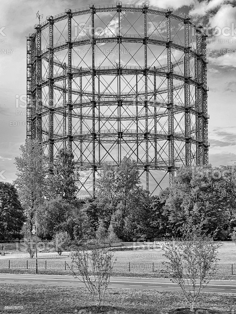 Gasometer in Berlin-Schoeneberg, black and white stock photo