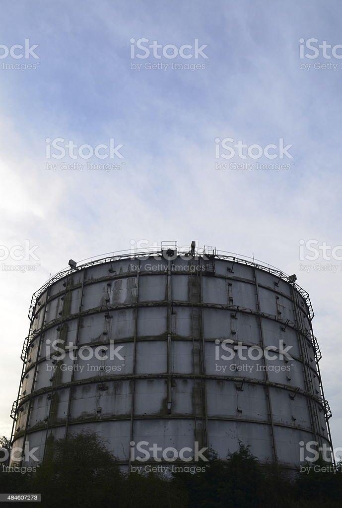 Gasometer in the United Kingdom. stock photo