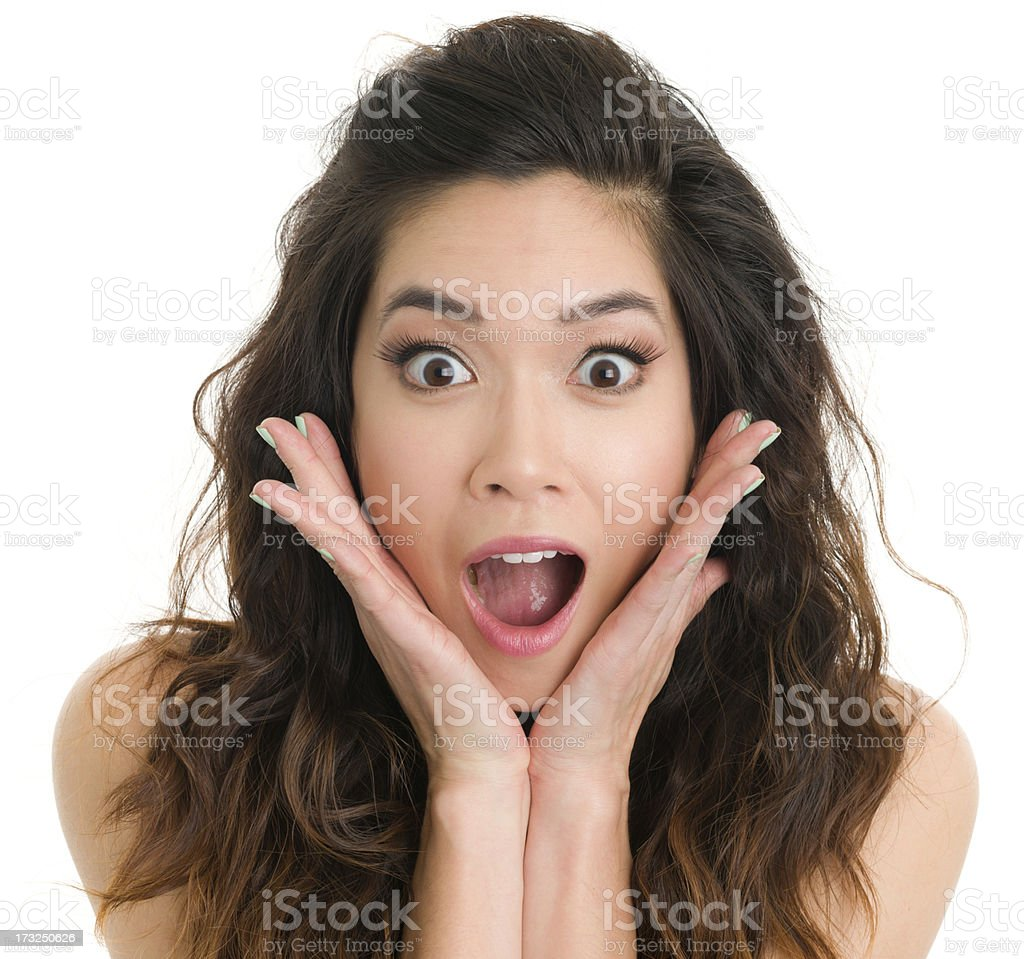 Gasping Young Woman stock photo
