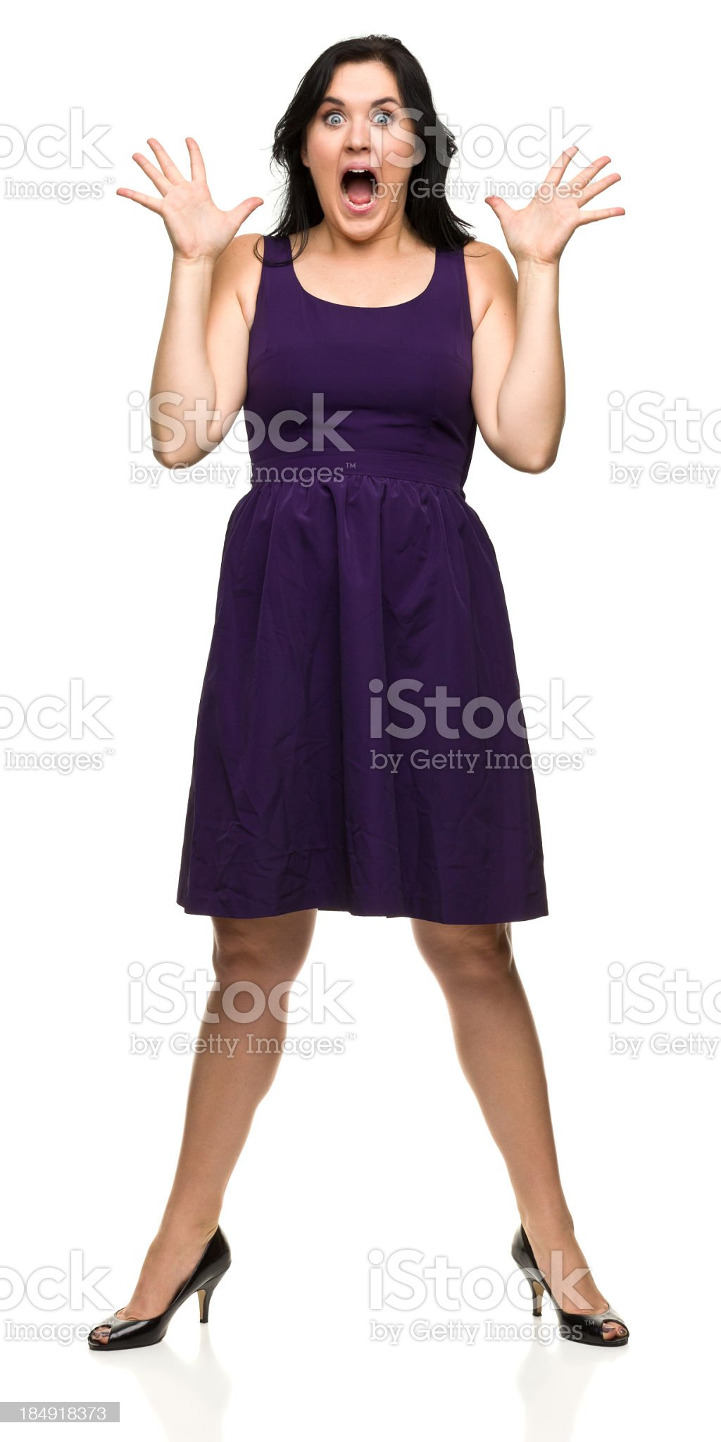 Gasping Young Woman Standing royalty-free stock photo