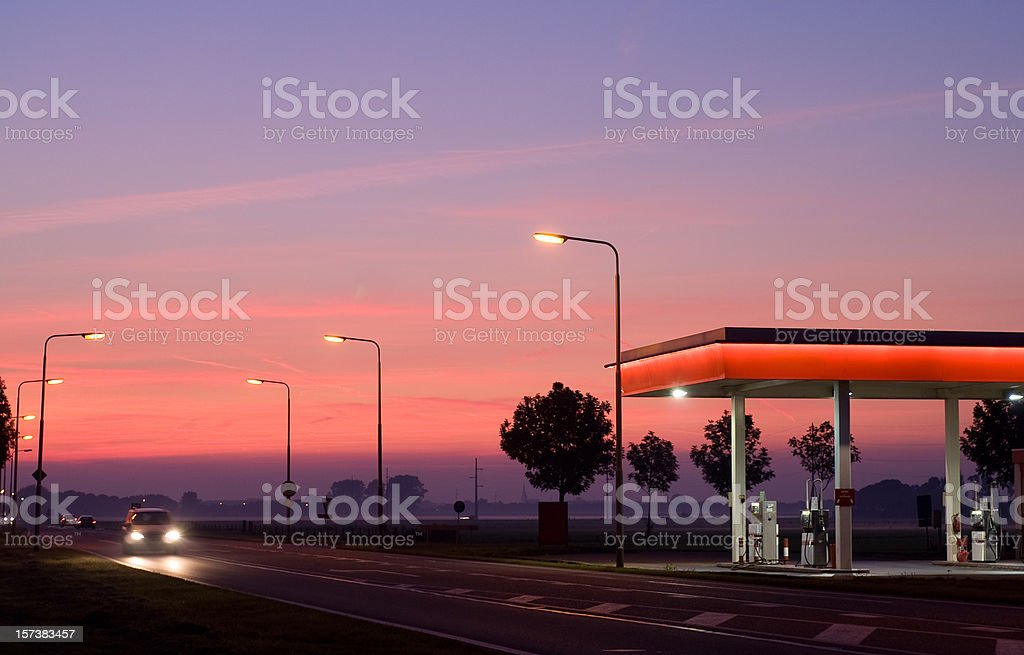 gasstation at night stock photo