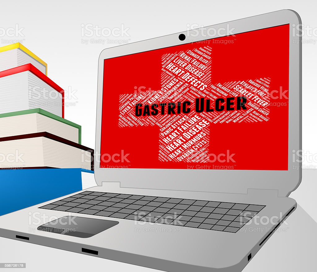 Gastric Ulcer Shows Poor Health And Diseased stock photo