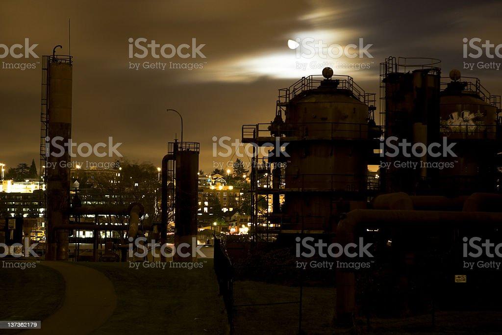 Gasworks at Night royalty-free stock photo