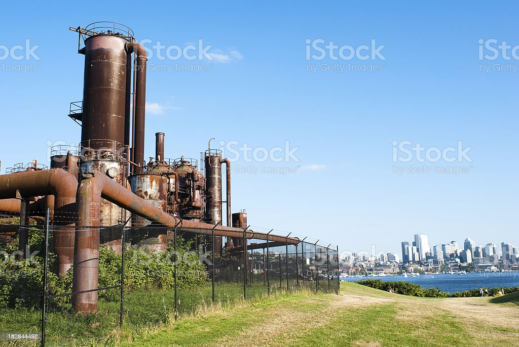 Gasworks towers at Lake Union in Seattle, WA stock photo