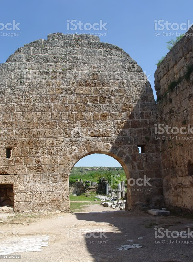 Gate ancient Perge (VII century BC). Antalya stock photo
