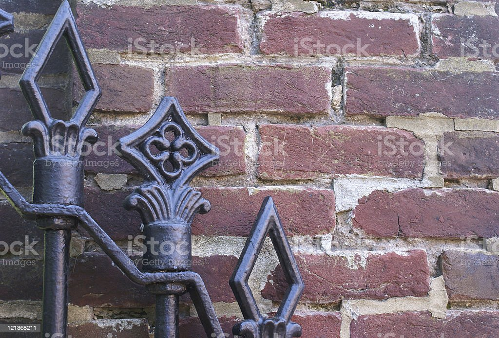 Gate and Brick Wall stock photo