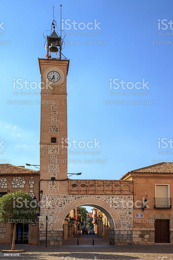 Gate and clock tower on Plaza España, Consuegra, Spain stock photo