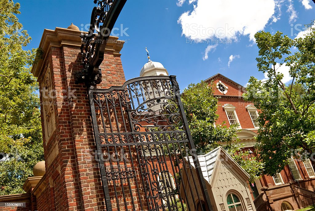 Gate and entrance to Harvard University campus in Cambridge, Massachusetts royalty-free stock photo