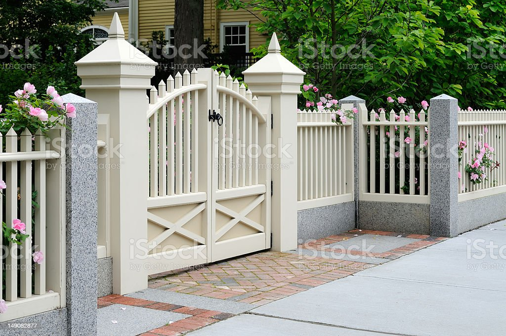 Gate and Fence with Roses stock photo