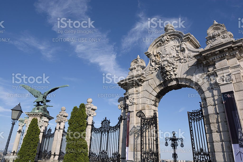Gate at entrance to Buda Castle in Budapest, Hungary royalty-free stock photo