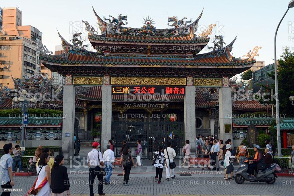 Gate at Longshan Temple, Taipei, Taiwan stock photo