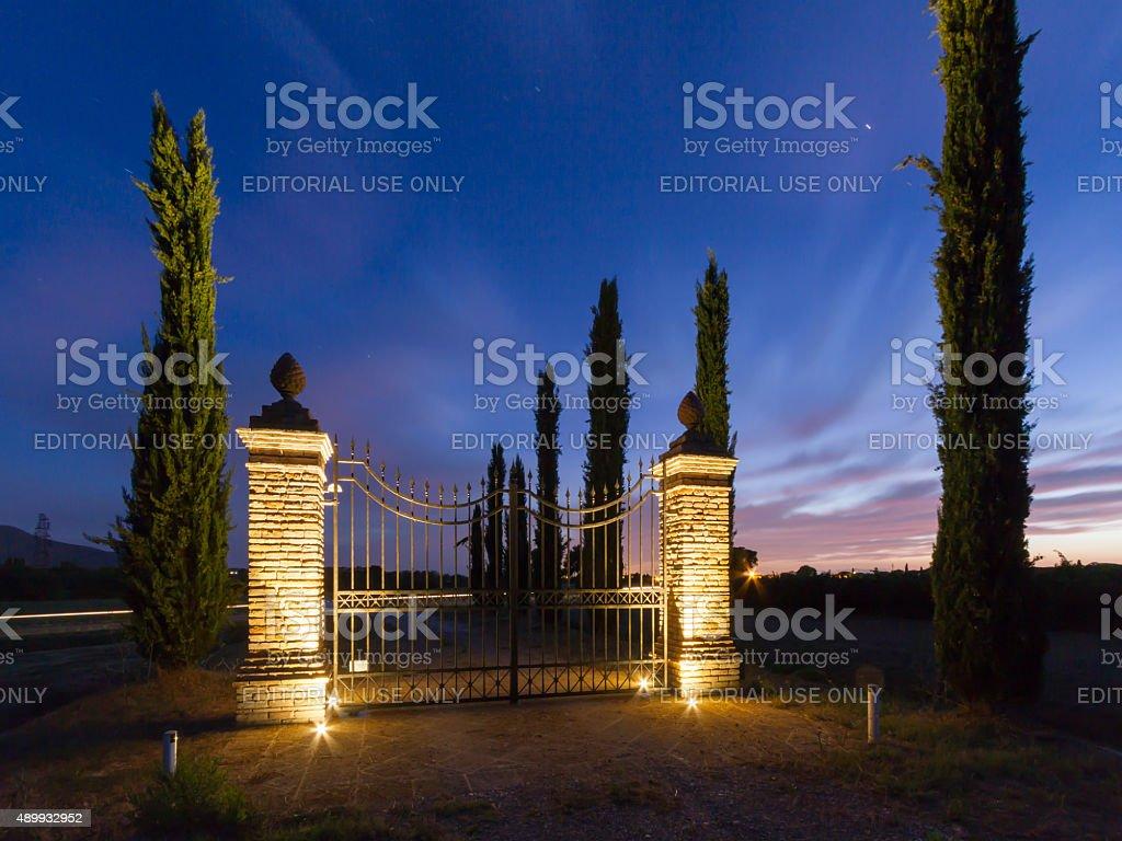 Gate at sunset in Maremma, Tuscany stock photo