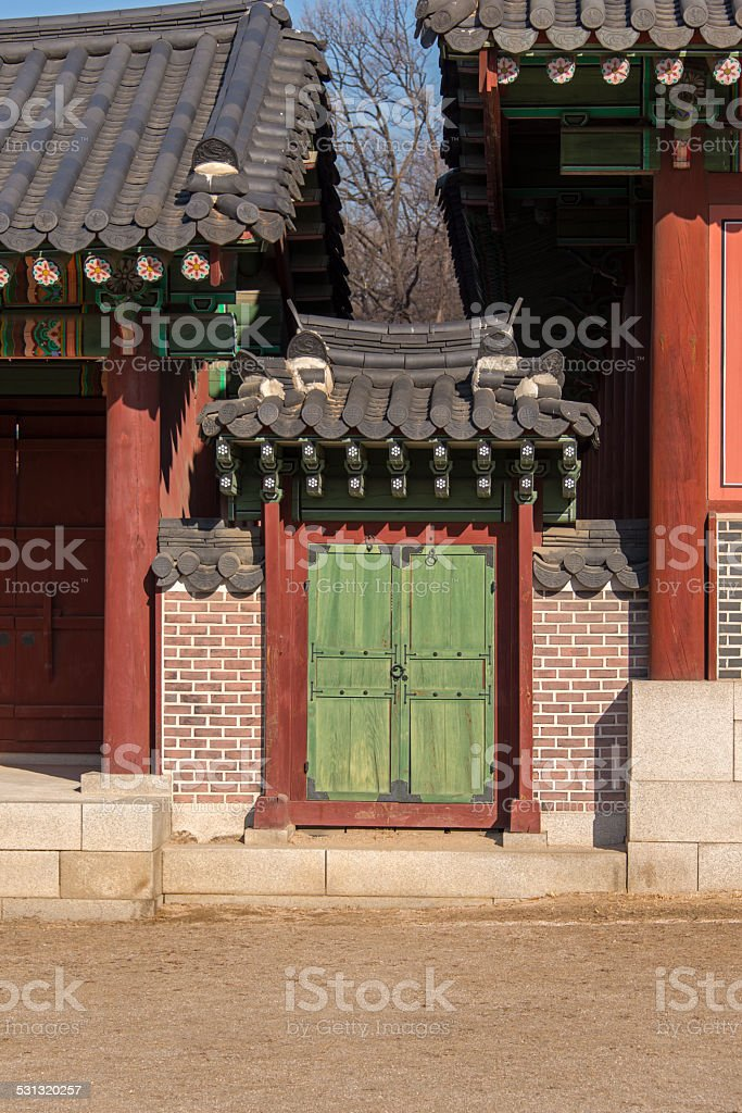 Gate at the Changdeokgung Palace stock photo
