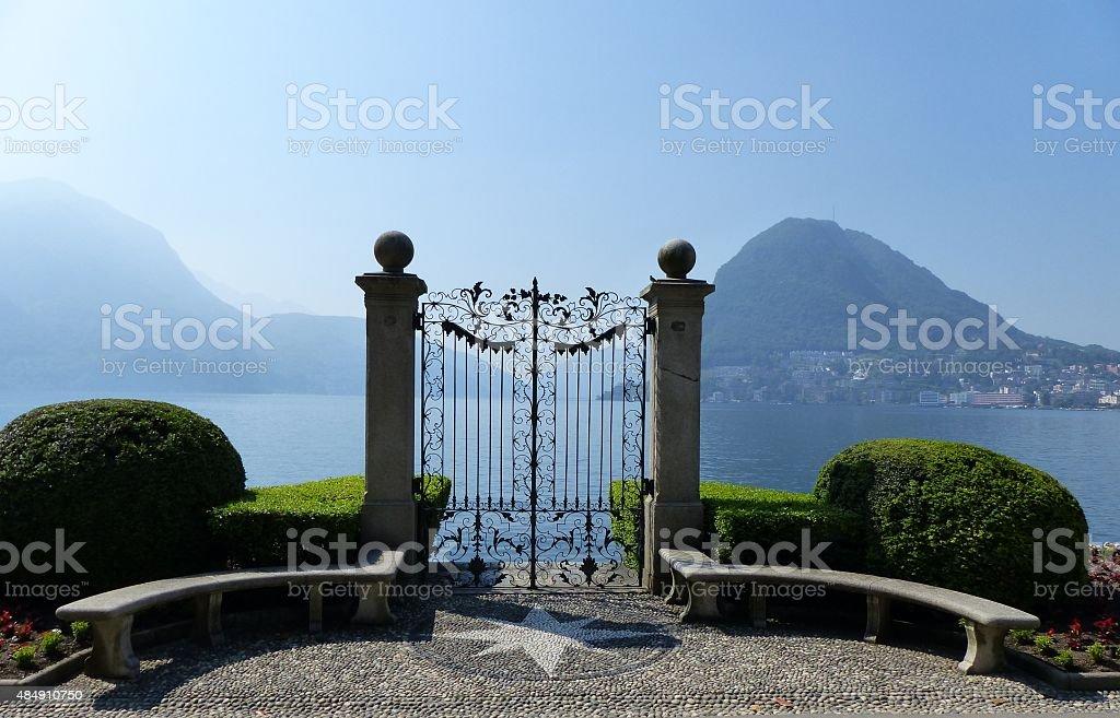 Gate at the Lake stock photo