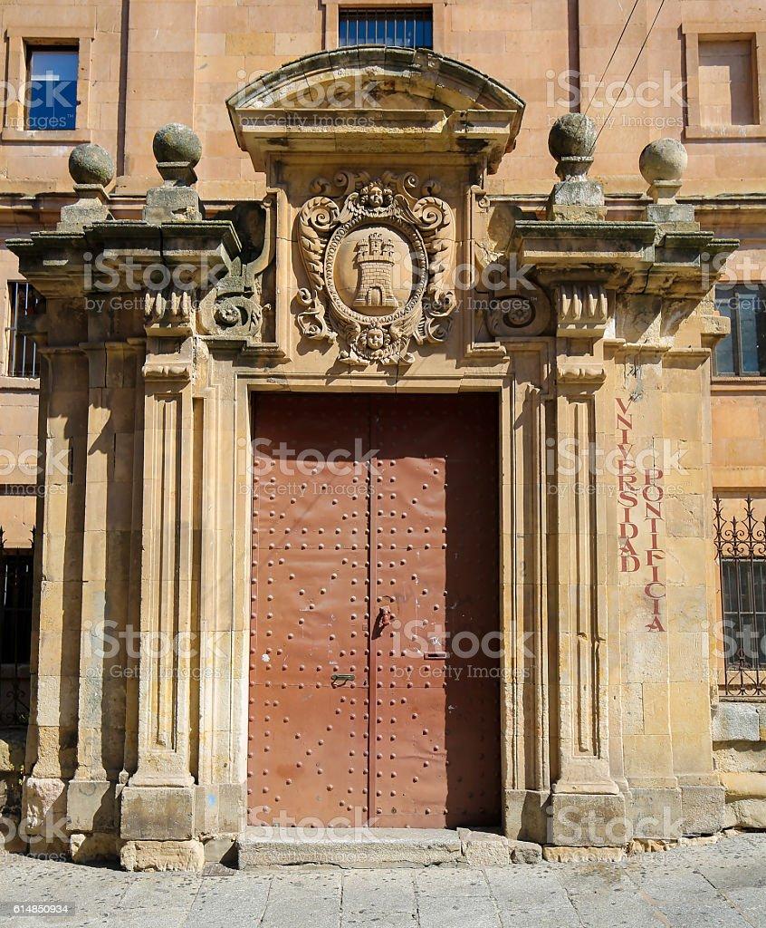 Gate at the Pontifical University of Salamanca, Spain stock photo