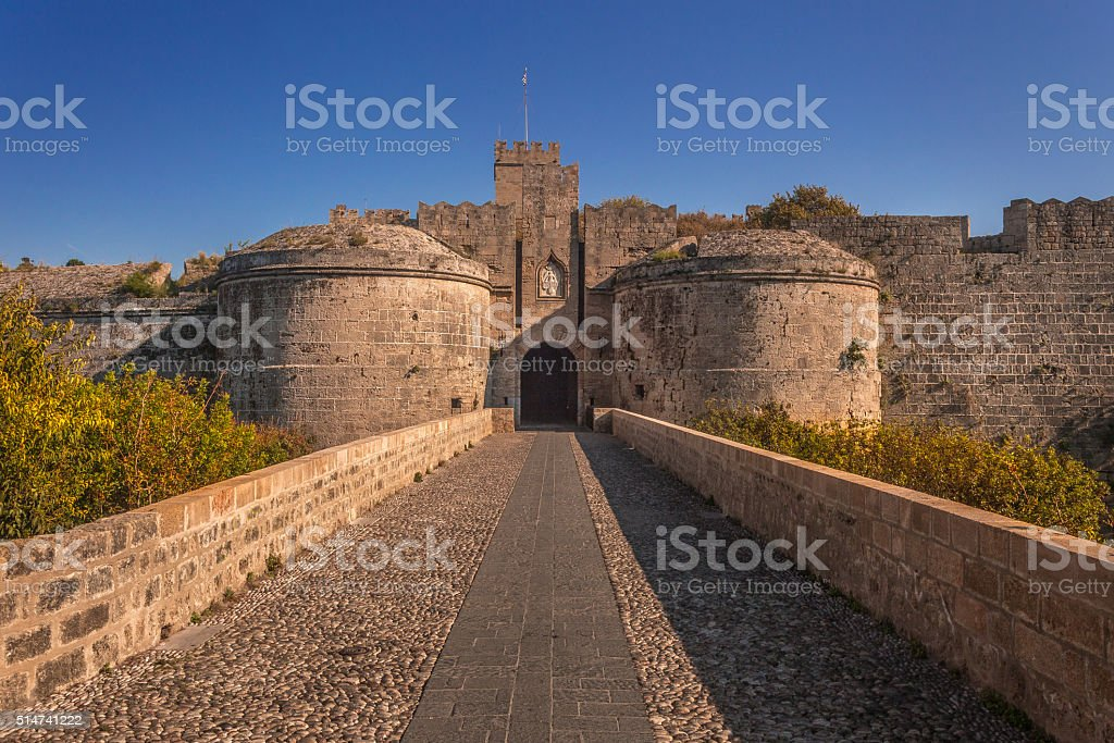Gate d'Amboise, Rhodes, Greece. stock photo