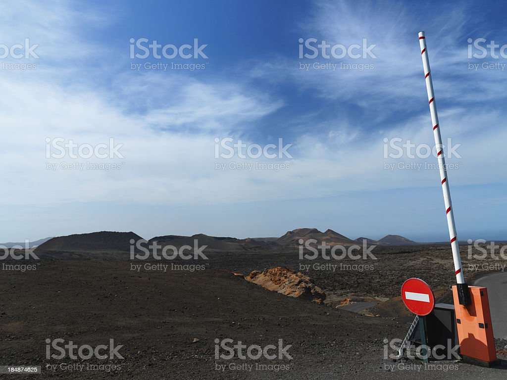 gate, don't enter, volcanic landscape,lanzarote royalty-free stock photo