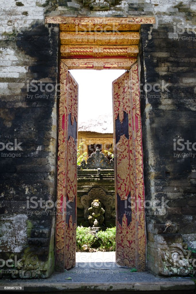Gate Door in Ubud palace, Bali, Indonesia stock photo