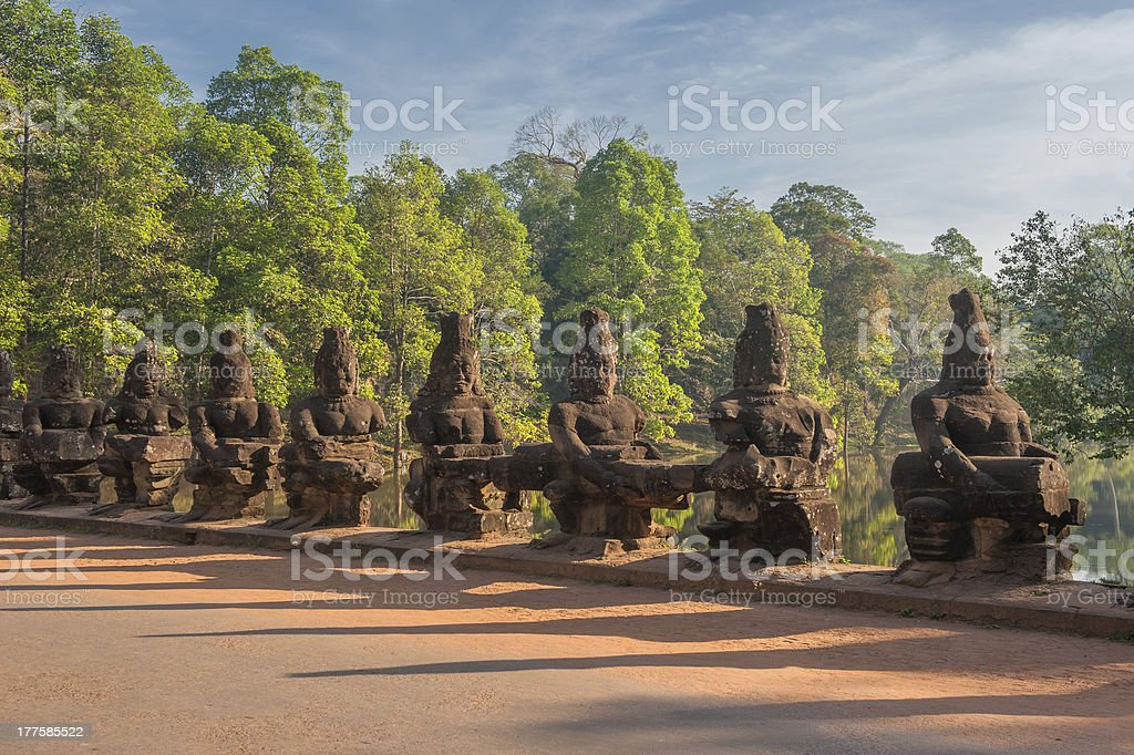 Gate guardians, Angkor, Cambodia stock photo