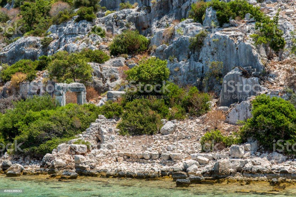 Gate in Ancient sunk city, Kekova, Kas, Antalya stock photo