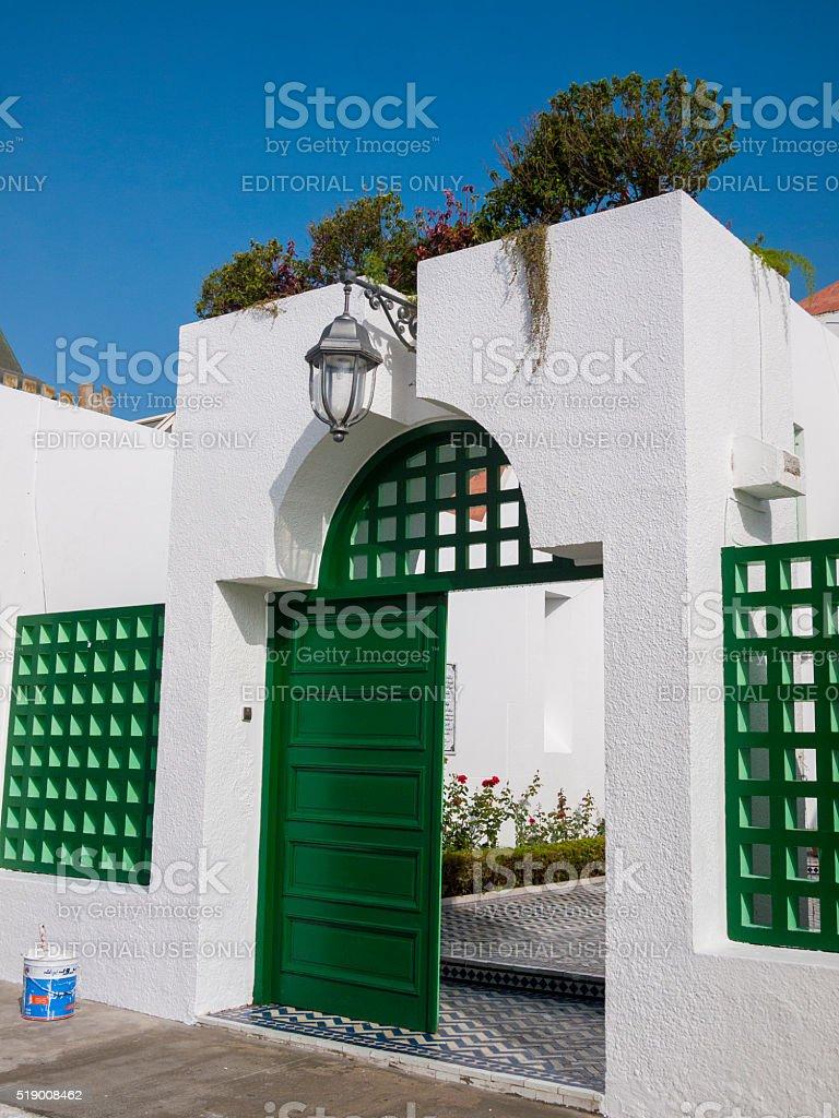Gate in Asilah, Morocco stock photo