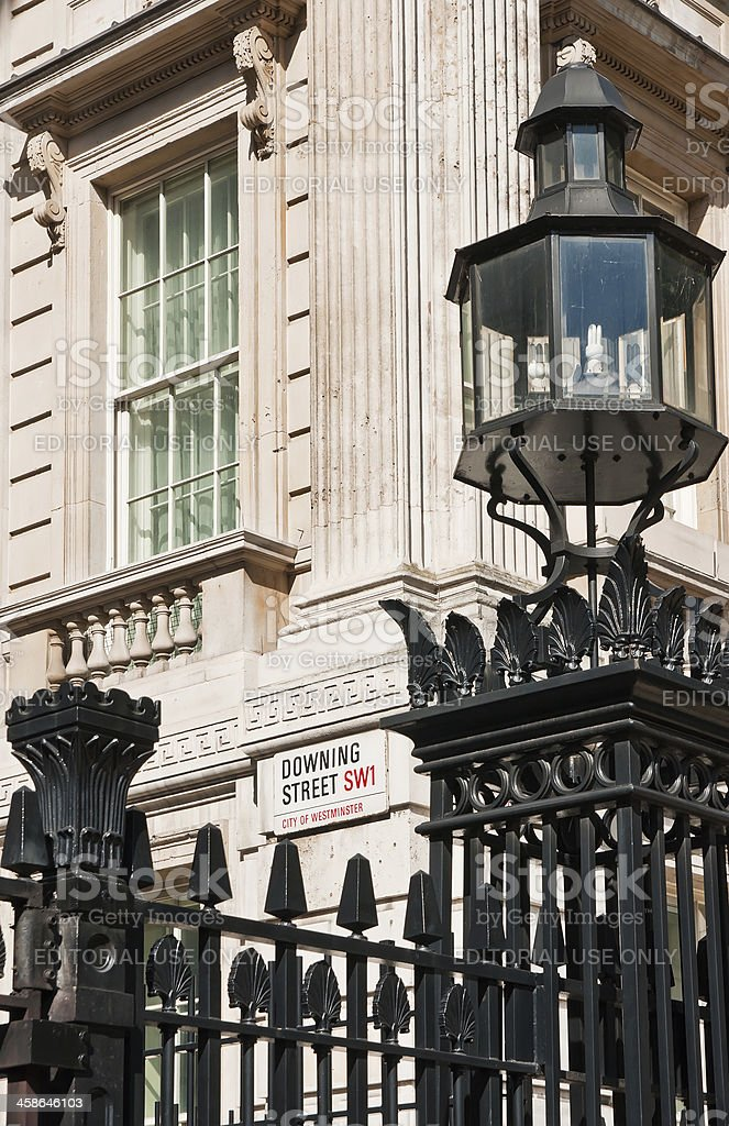 'Gate in front of the Downing Street, London, UK' stock photo