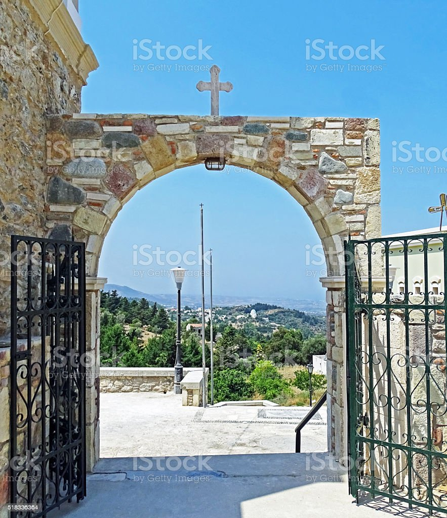 Gate in Greece stock photo