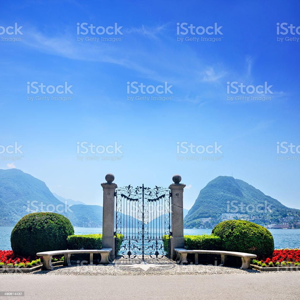 Gate in Lugano stock photo