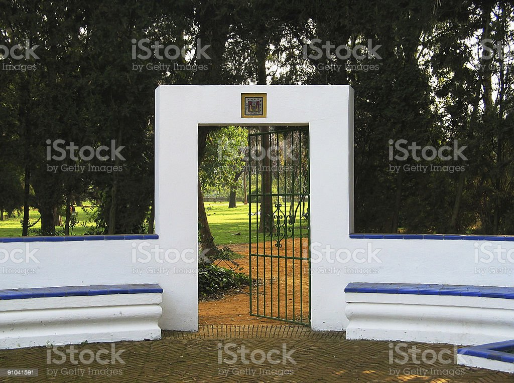 Gate in Parque de Maria Luisa,  Sevilla, Spain. royalty-free stock photo