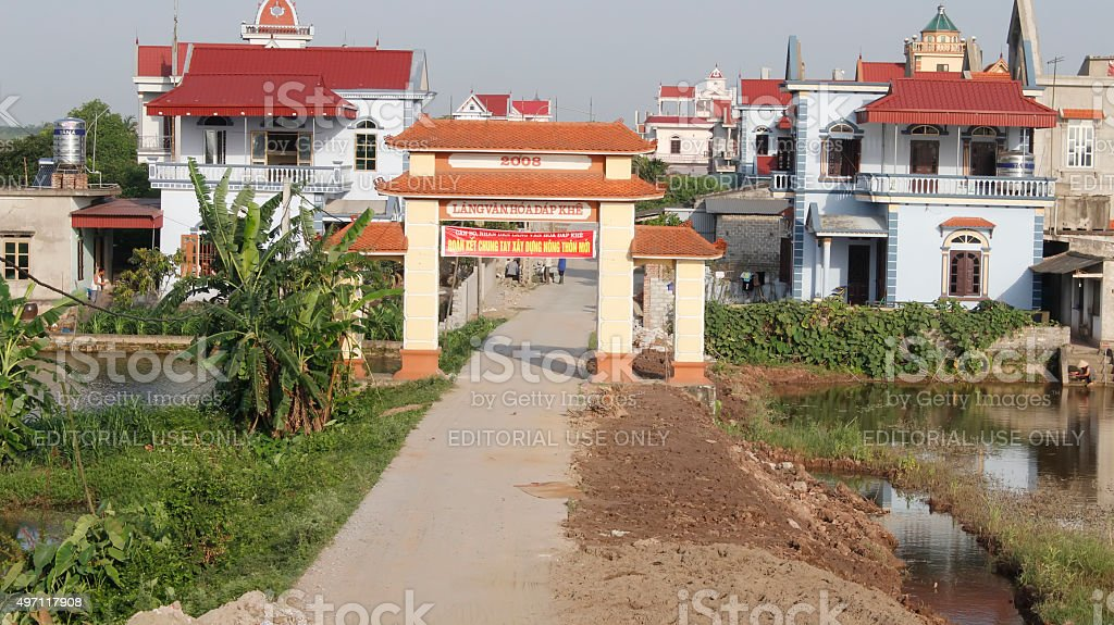 Gate in vietnamese rural village stock photo