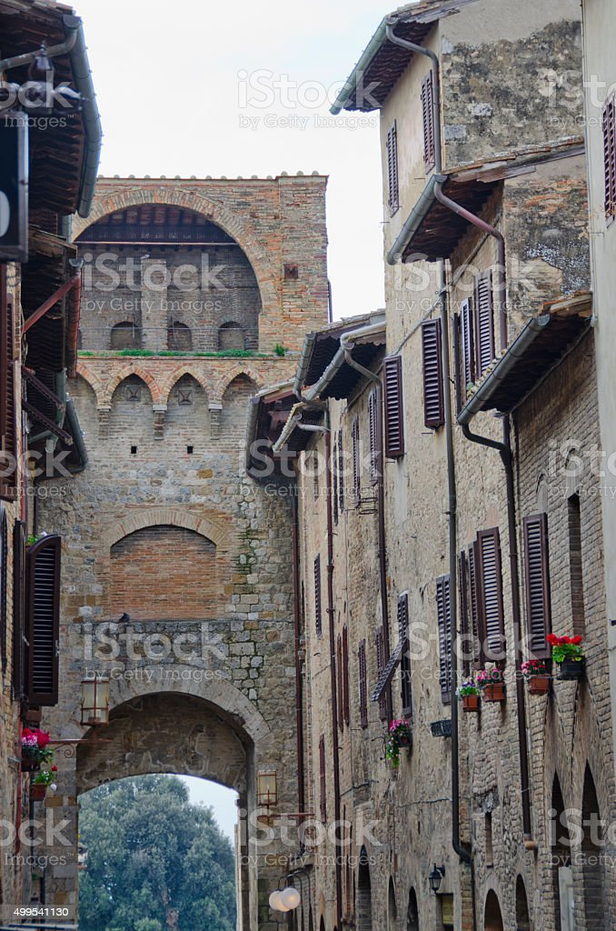 Gate in Wall to San Gimignano, Italy stock photo