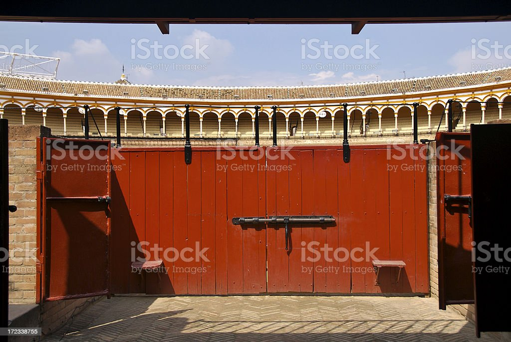 Gate into Seville Bull Ring royalty-free stock photo