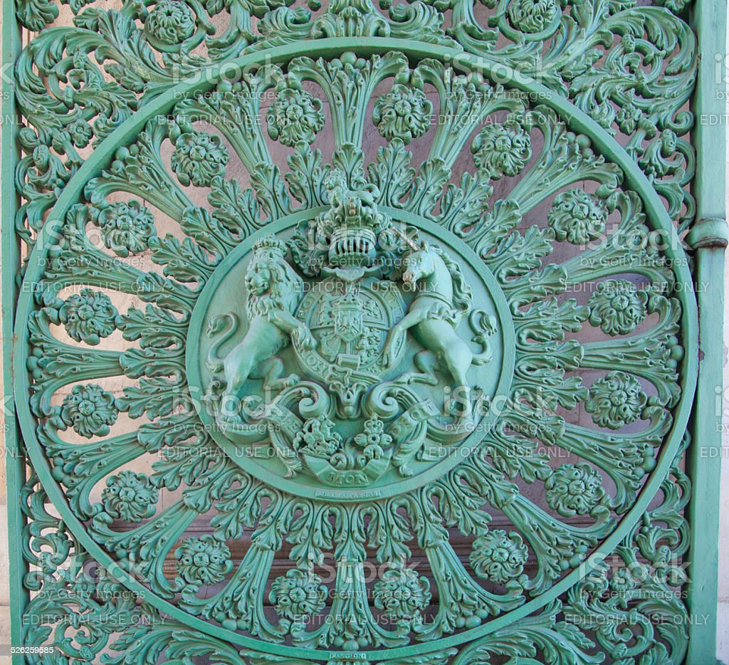 Gate lace of Wellington Triumph  Arch in London, Royal lions stock photo