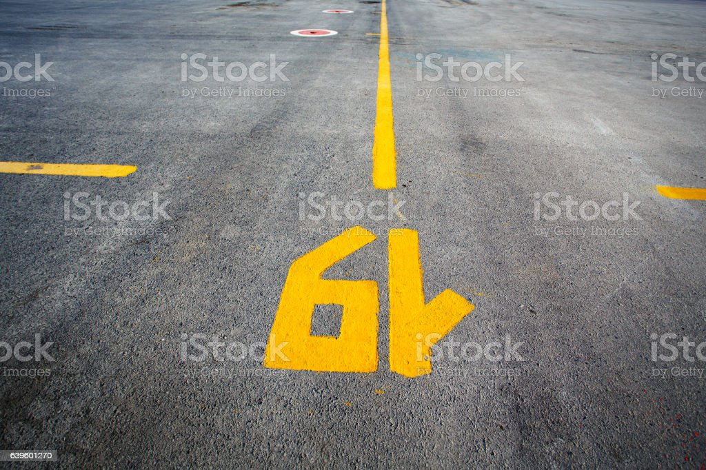 Gate layout on the asphalt in airport terminal stock photo