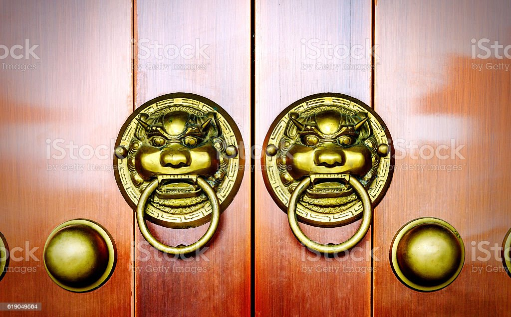Gate lion decoration stock photo
