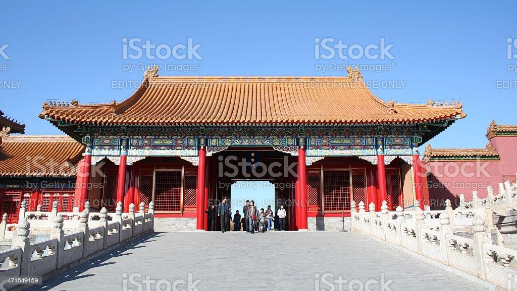 Gate near Hall of Supreme Harmony, Forbidden City, Beijing, China stock photo