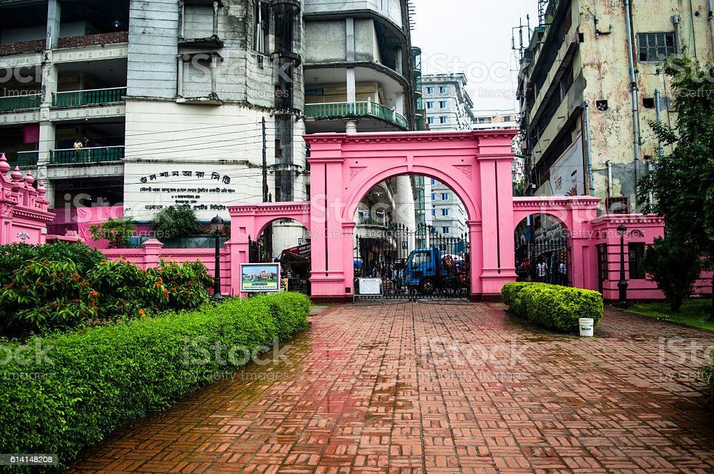 Gate Of Ahsan Manzil In Dhaka, Bangladesh stock photo