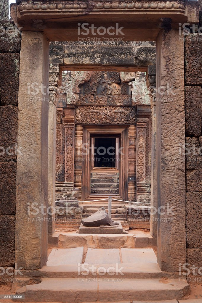 Gate of Banteay Srei Temple stock photo