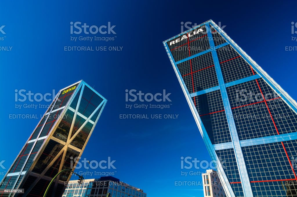 Gate of Europe in Madrid with a Deep Blue Sky stock photo
