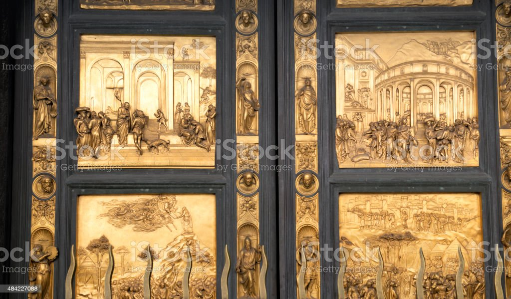 Gate of Florence Baptistery stock photo