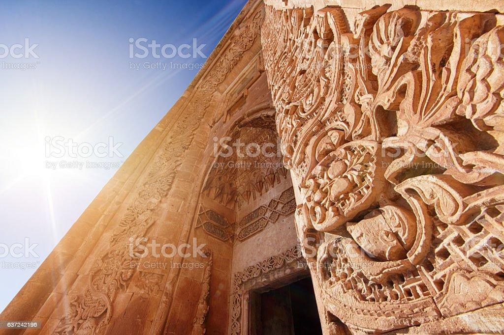 Gate of Ishak Pasha Palace, Dogubeyazit, Agri, Turkey stock photo