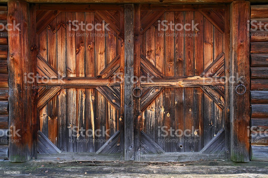 Gate of old barn stock photo