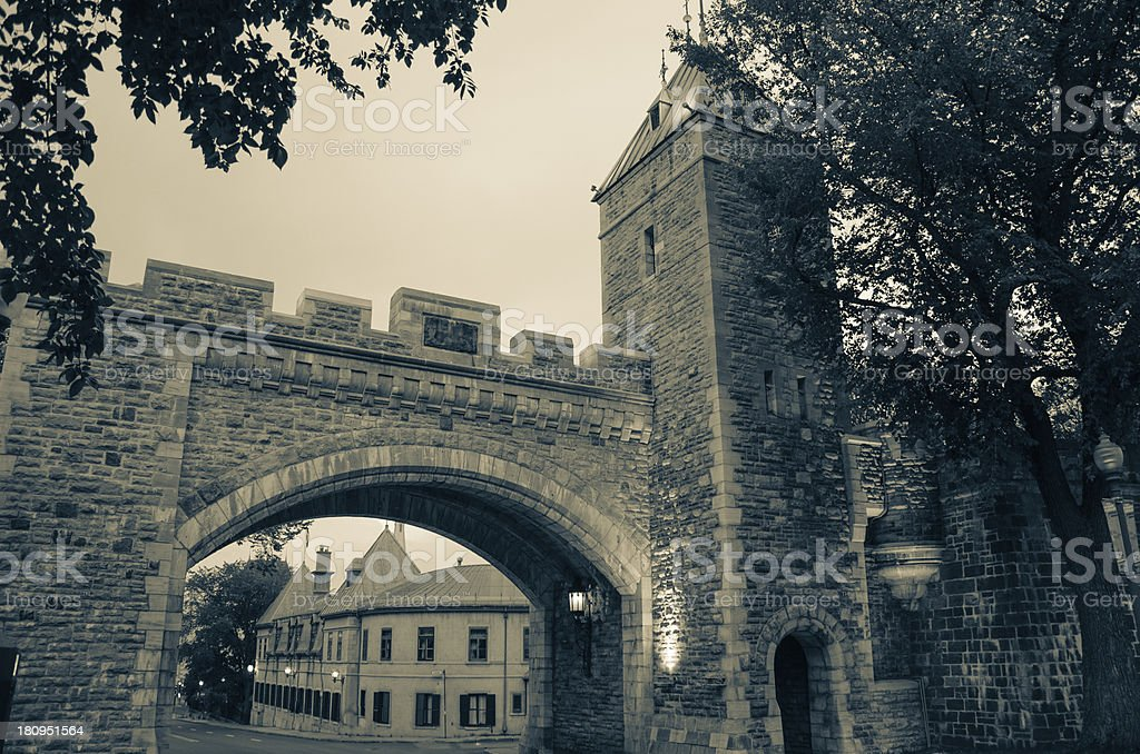 Gate of Old Quebec, City landmark, Fortress, Canada royalty-free stock photo
