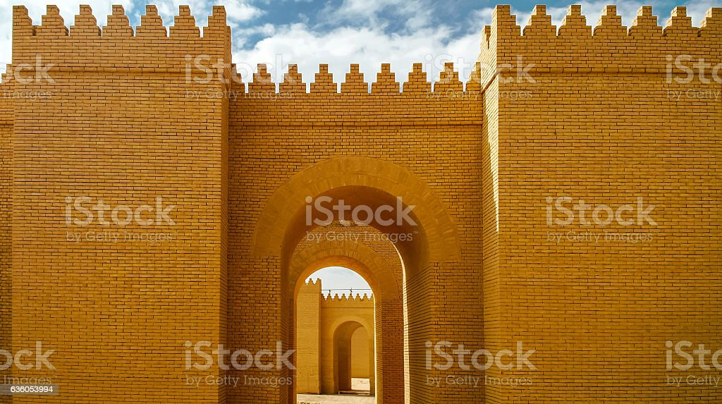 Gate of partially restored Babylon ruins, Hillah Iraq stock photo